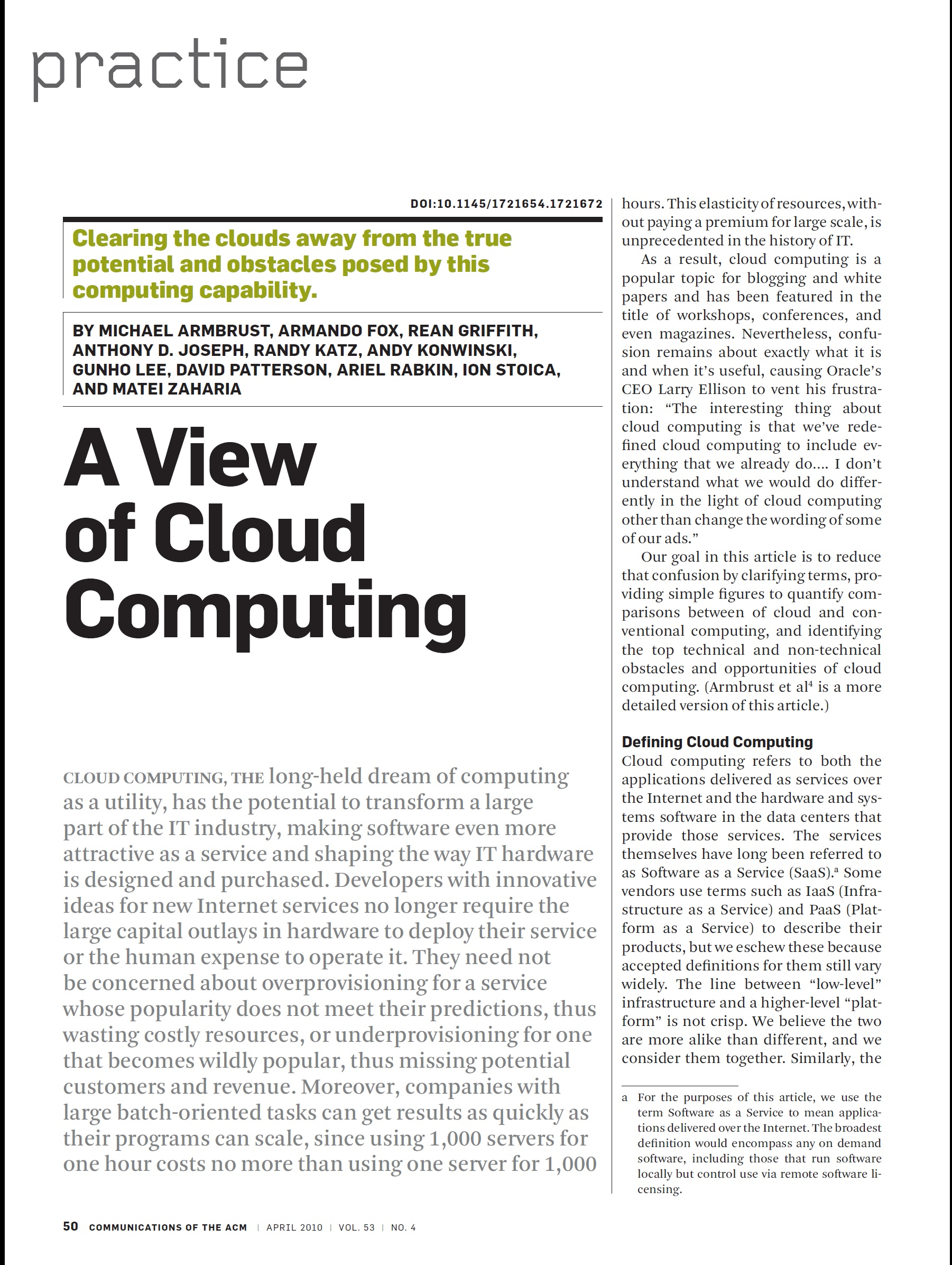 A View of Cloud Computing, ACM, 2010