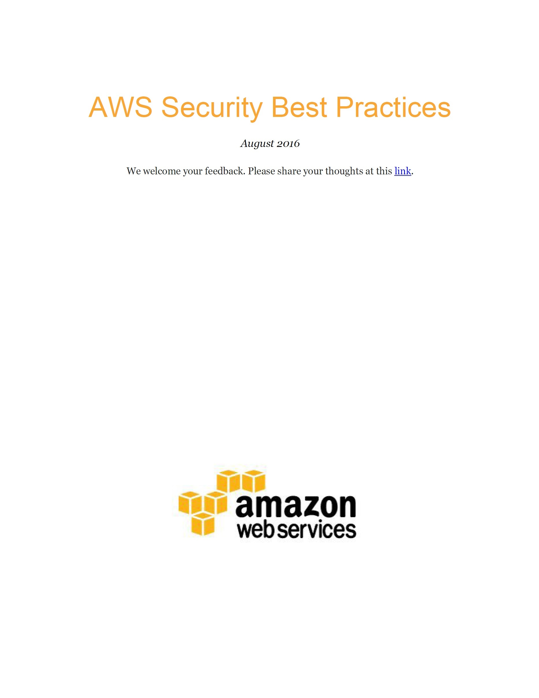 AWS Security Best Practices, 2016