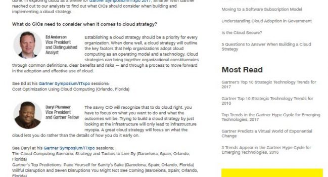 Analysts Answer: What do CIOs need to Consider for Cloud Strategy?, Gartner, 2017