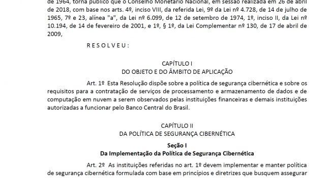 Resolução 4.658/2018 – Banco Central do Brasil