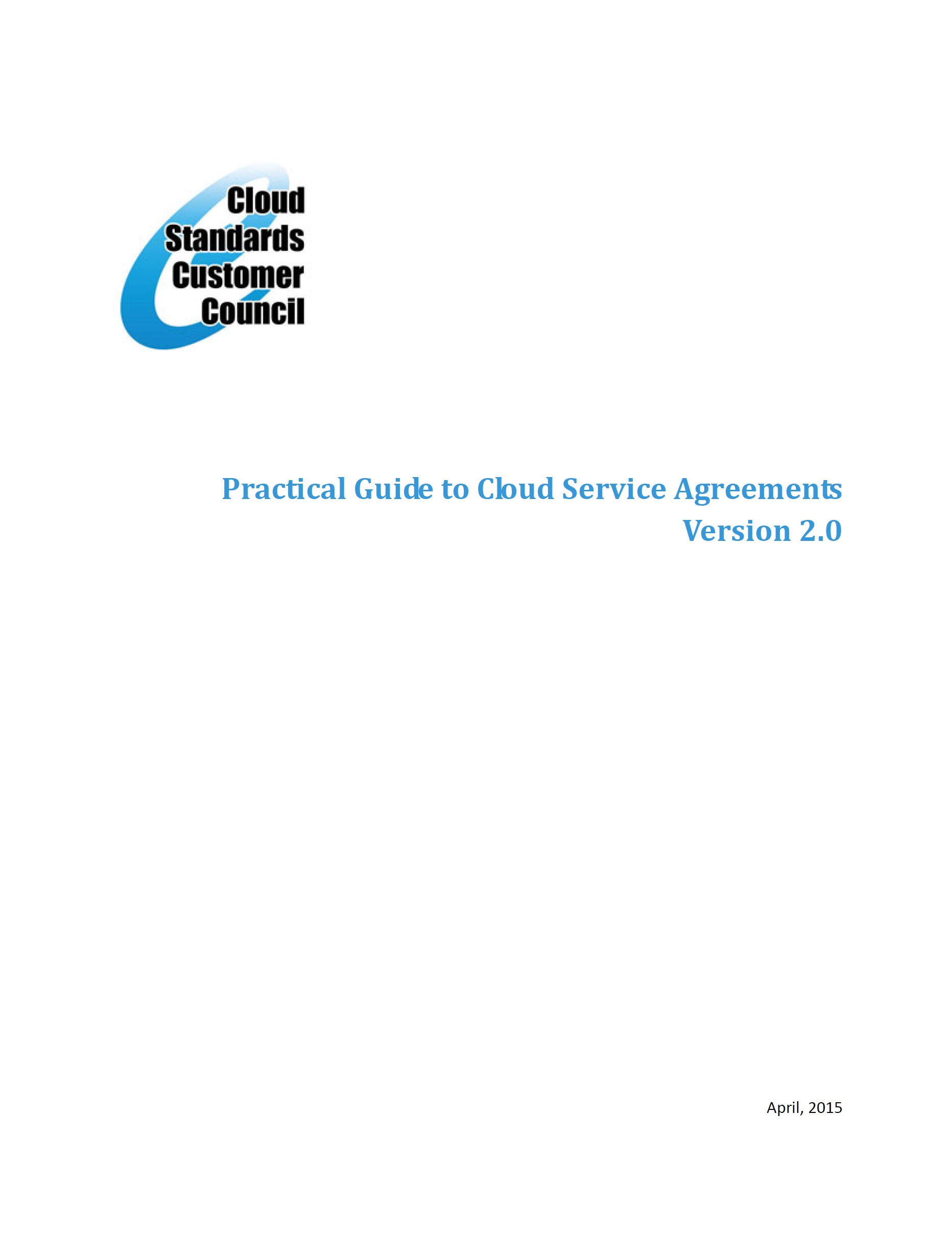 Practical Guide to Cloud Service Agreements – CSCC, 2015
