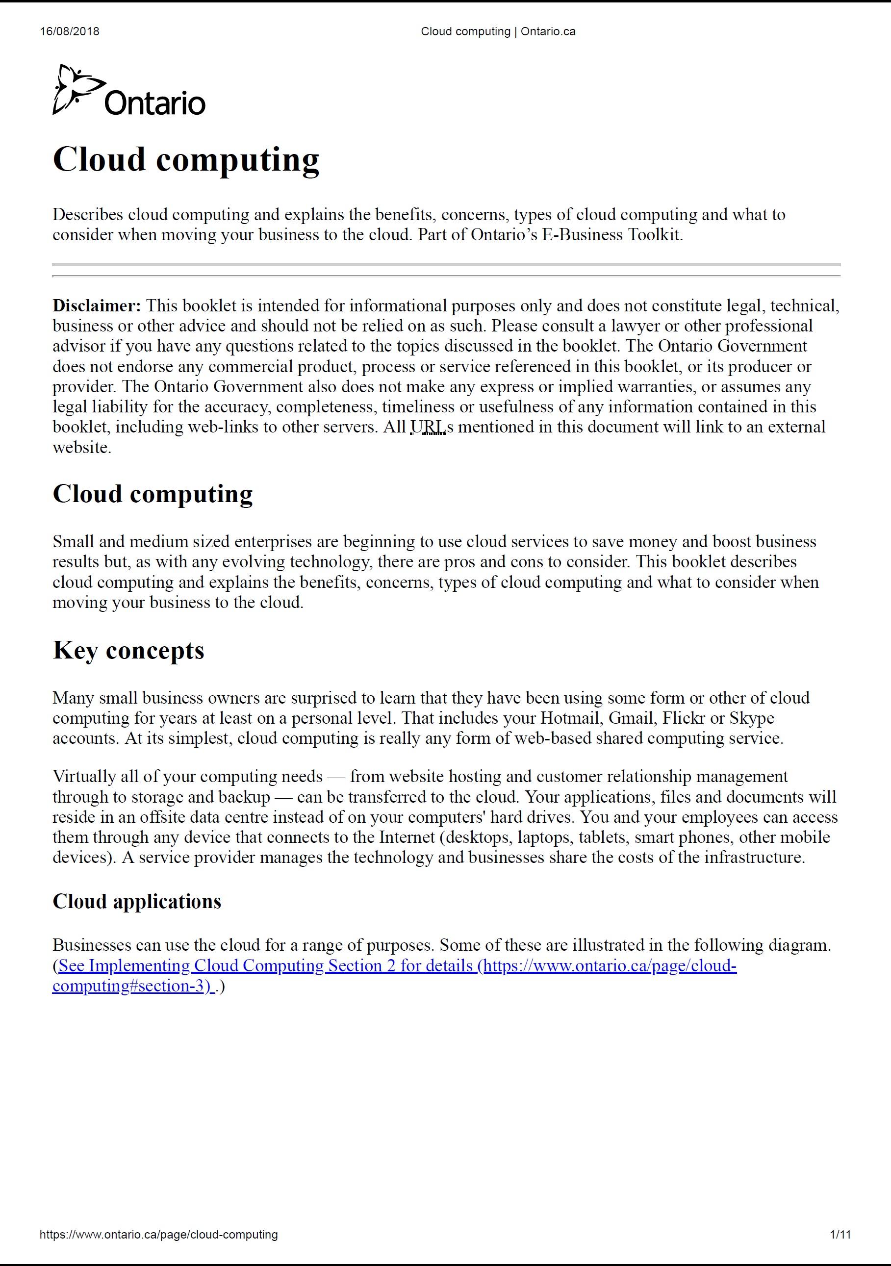 Cloud Computing – Ontario Government