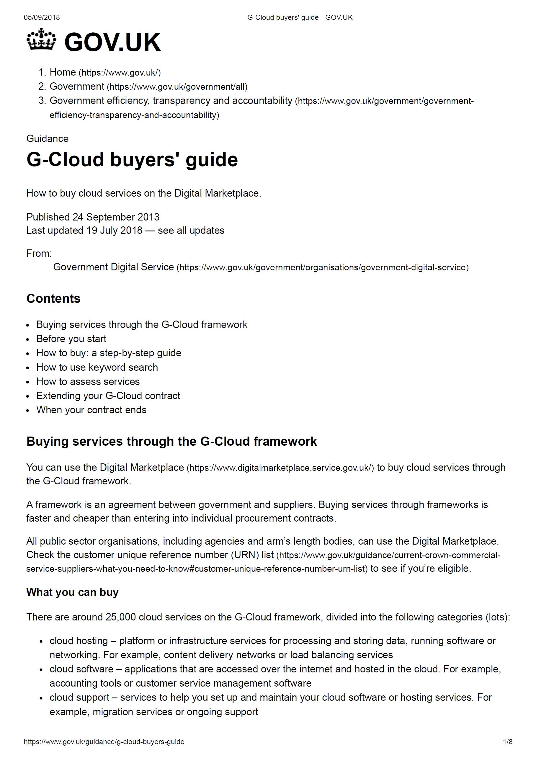 G-Cloud Guyers' Guide – Gov UK