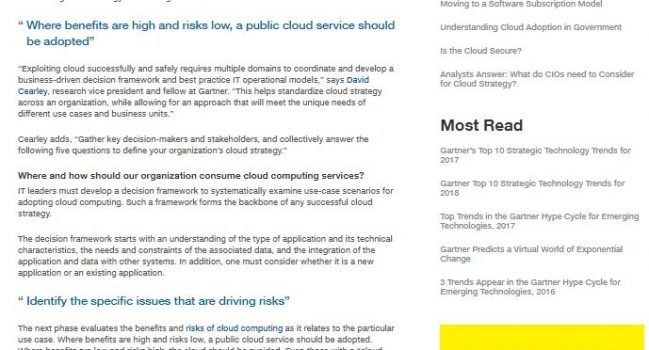 5 Questions to Answer WhenBuilding a Cloud Strategy, Gartner, 2018