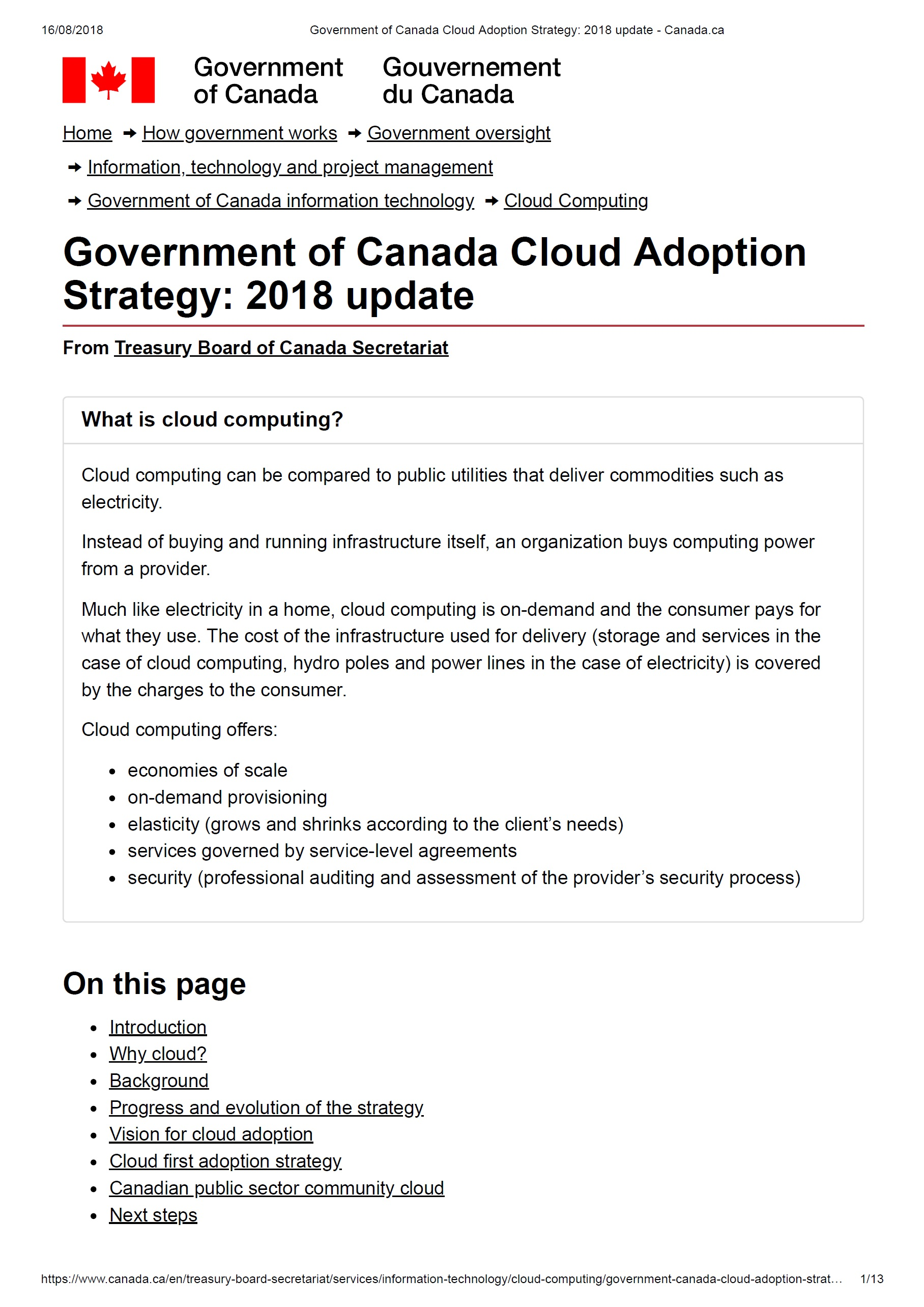 Government of Canada Cloud AdoptionStrategy: 2018