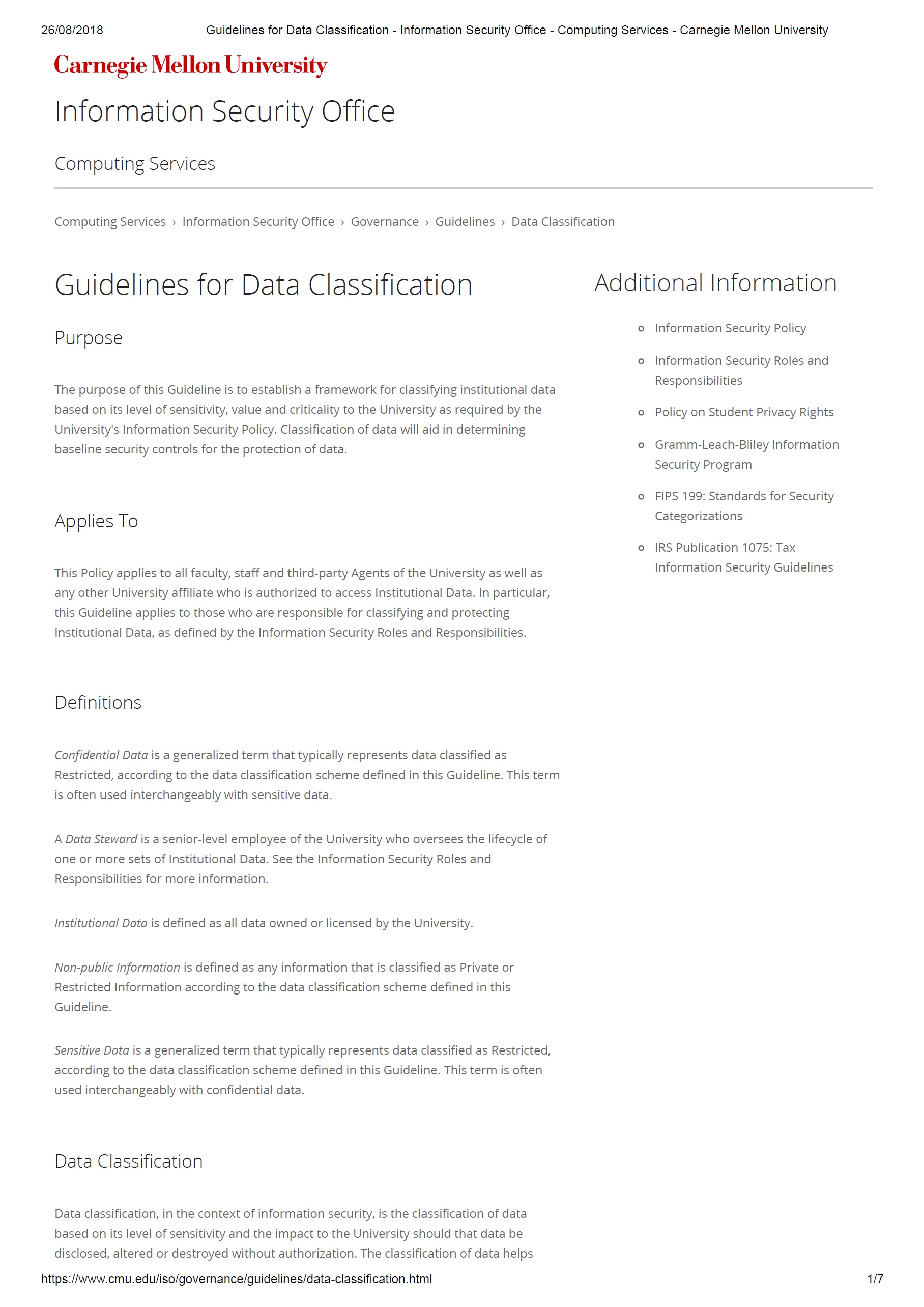 Guidelines for Data Classification – CMU