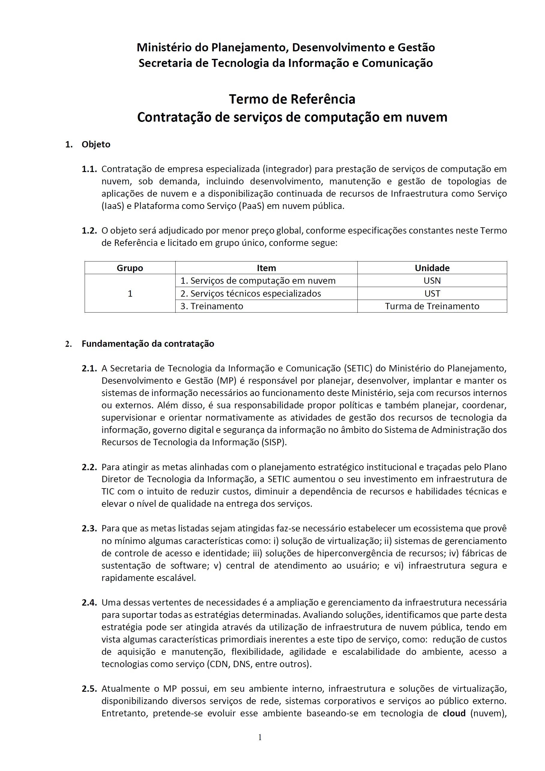 MPDG – Pregão 29/2018 – TR para Contratação de Serviços de Computação em Nuvem