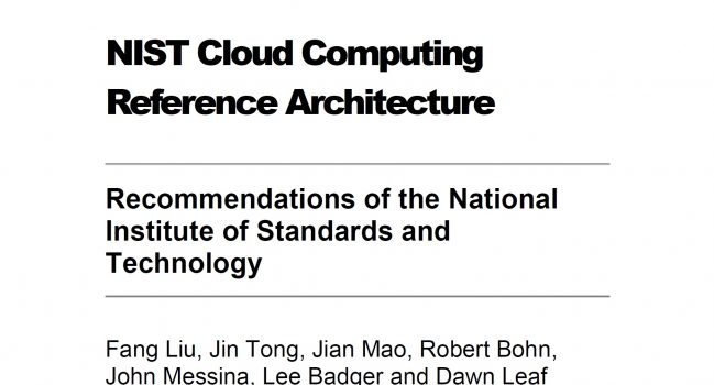 Cloud Computing Reference Architecture – NIST