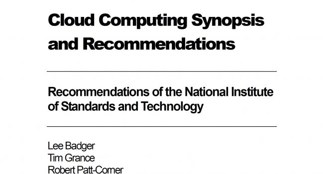 Cloud Computing Synopsis and Recommendations – NIST