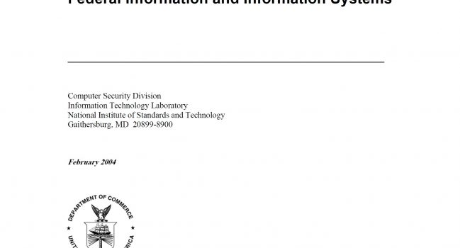 Standards for Security Categorization of Federal Information and Information Systems – NIST