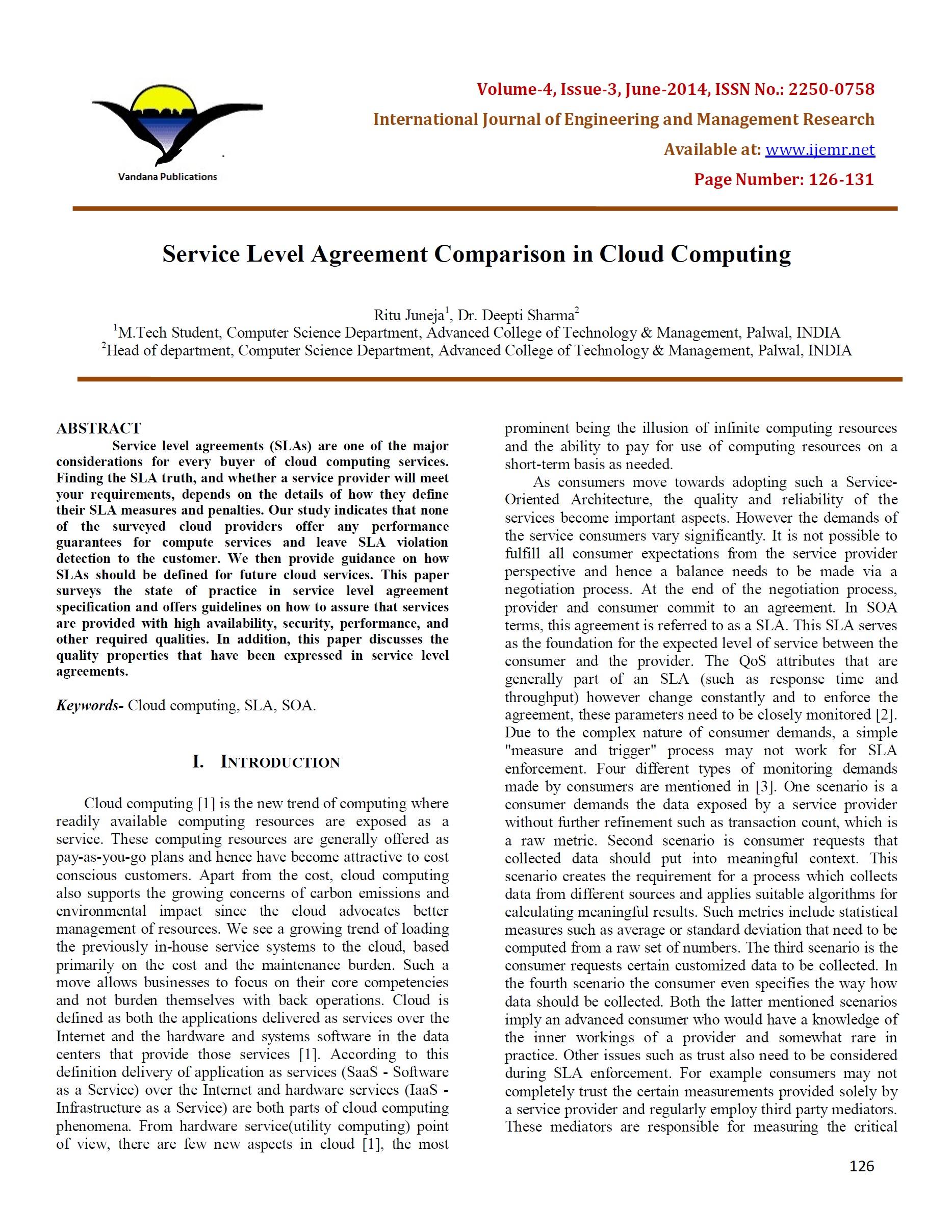 Service Level Agreement Comparison in Cloud Computing – ijemr